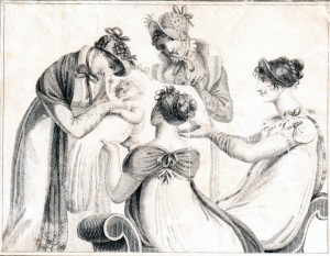 Ladies gather to admire the new arrival. A charming image from a ladies' memorandum book of 1806