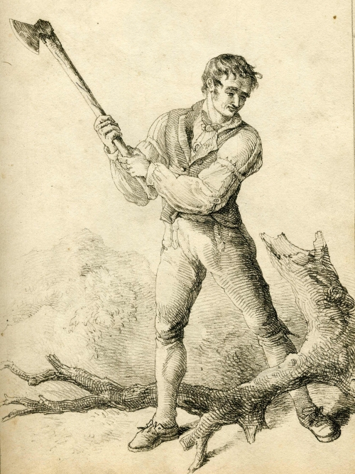 Woodcutter from W H Pyne's Rustic Figures